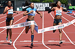 Allyson Felix of the USA (c) crosses the finish line to win the Women's 400 meters on the final day of the Prefontaine Classic at Hayward Field in Eugene, Oregon, USA, 30 MAY 2015. (EPA photo by Steve Dykes)