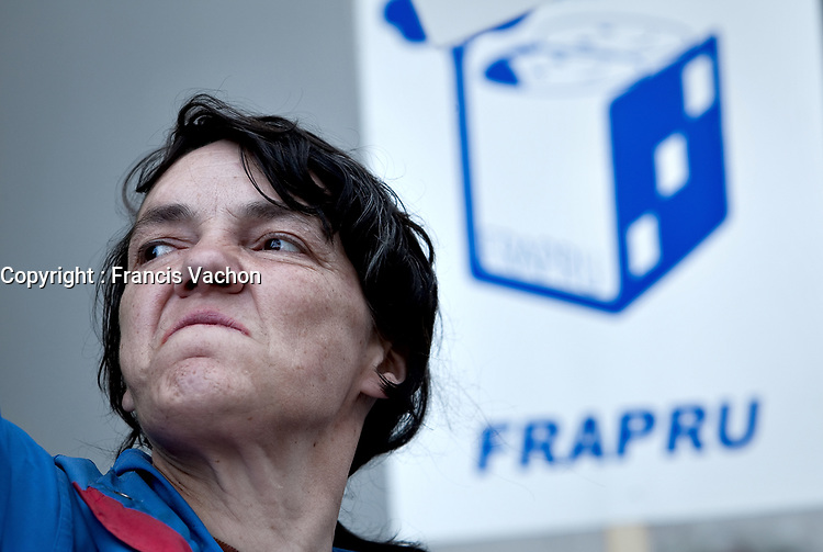 Chantal Potvin takes part into an anti-poverty protest in front of the Congress Center in Quebec city June 15, 2009.<br /> <br /> PHOTO :  Francis Vachon - Agence Quebec Presse