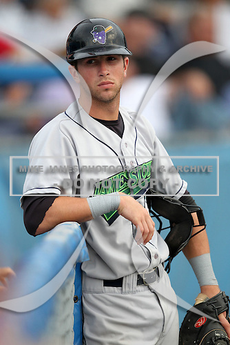 Jamestown Jammers catcher Dallas Hord during a game vs. the Batavia Muckdogs at Dwyer Stadium in Batavia, New York July 31, 2010.   Batavia defeated Jamestown 6-1.  Photo By Mike Janes/Four Seam Images