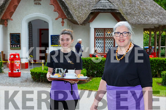Norma Doherty and Saoirse Casey working hard on the reopening of Deenagh Lodge cafe on Monday