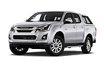 Stock pictures of low aggressive front three quarter view of 2019 Isuzu D-Max LSX 5 Door Pick-up Low Aggressive