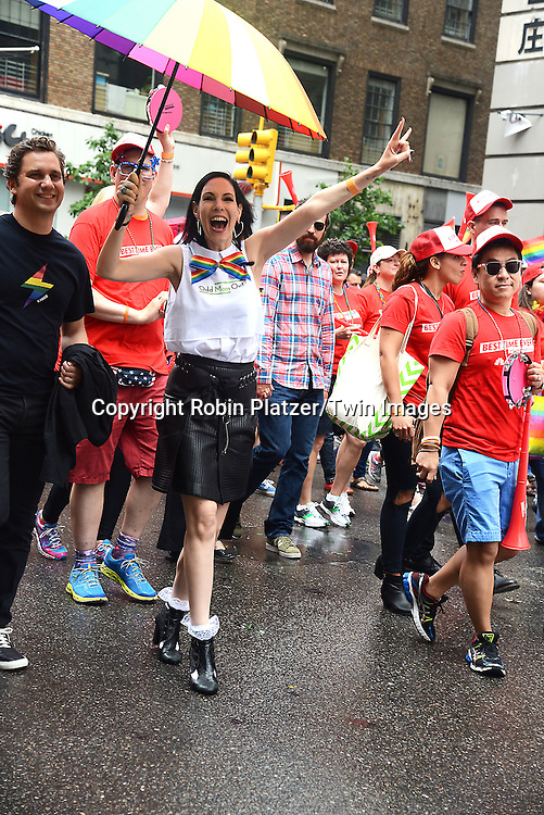 """Jill Kargman and husband of """"Odd Mom Out"""" attends the 2015 NYC Pride March on June 28, 2015 on Fifth Avenue in New York City. <br /> <br /> photo by Robin Platzer/Twin Images<br />  <br /> phone number 212-935-0770"""