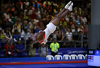BARRANQUILLA - COLOMBIA, 23-07-2018: Randy Hose Leru de Cuba durante su participación en gimnasia hombres modalidad caballo con arcos como parte de los Juegos Centroamericanos y del Caribe Barranquilla 2018. / Randy Hose Leru of Cuba during his participation in gymnastics men's pommel horse category as a part of the Central American and Caribbean Sports Games Barranquilla 2018. Photo: VizzorImage / Cont