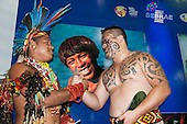 Maori delegate Earl greets a Brazilian Pataxo delegate at the International Indigenous Games, in the city of Palmas, Tocantins State, Brazil. 27th October 2015