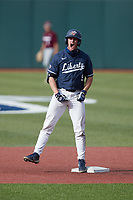 Aaron Anderson (9) of the Liberty Flames reacts as he stands on second base after hitting a double during the game against the Bellarmine Knights at Liberty Baseball Stadium on March 9, 2021 in Lynchburg, VA. (Brian Westerholt/Four Seam Images)