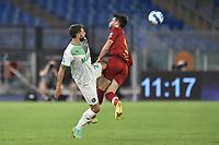 Domenico Berardi of US Sassuolo and Bryan Cristante of AS Roma during the Serie A football match between AS Roma and US Sassuolo at Olimpico stadium in Rome (Italy), September 12th, 2021. Photo Antonietta Baldassarre / Insidefoto