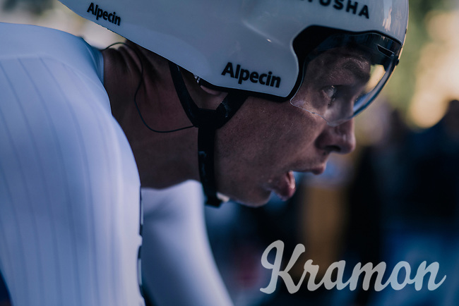 Tony Martin (DEU/Katusha-Alpecin) after finishing<br /> <br /> MEN ELITE INDIVIDUAL TIME TRIAL<br /> Hall-Wattens to Innsbruck: 52.5 km<br /> <br /> UCI 2018 Road World Championships<br /> Innsbruck - Tirol / Austria