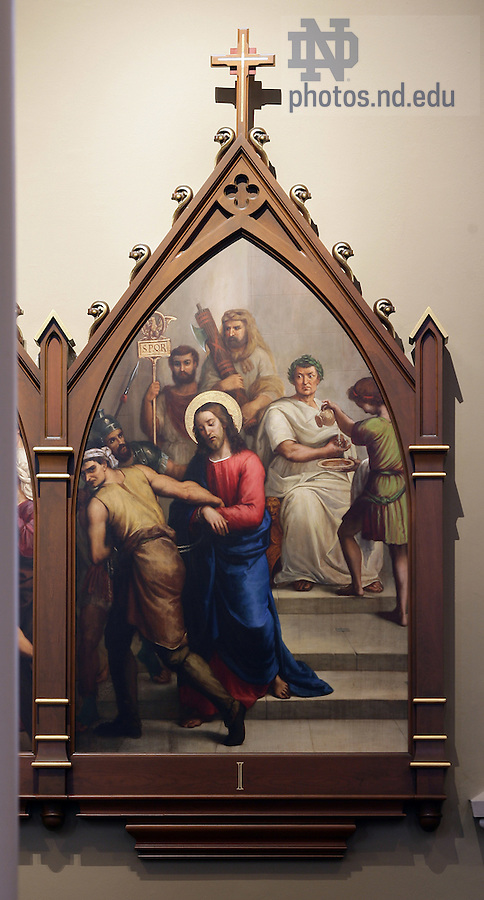 Stations of the Cross in the Basilica of the Sacred Heart.  Station 1...Photo by Matt Cashore..