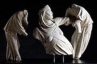 Gruppo scultoreo di Giovanni Pisano, raffigurante la Regina Margherita di Brabante sollevata da due angeli, nel Museo di Sant'Agostino a Genova.<br /> Sculptural group by Giovanni Pisano, representing Queen Margherita di Brabante lifted by two angels, in Genoa's Museum of St. Agostino.<br /> UPDATE IMAGES PRESS/Riccardo De Luca