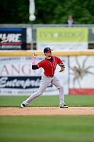 New Hampshire Fisher Cats second baseman Cavan Biggio (6) throws to first base during the first game of a doubleheader against the Harrisburg Senators on May 13, 2018 at FNB Field in Harrisburg, Pennsylvania.  New Hampshire defeated Harrisburg 6-1.  (Mike Janes/Four Seam Images)