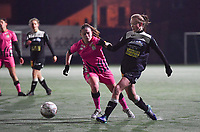 Aalst's Loes Van Mullem pictured in a duel with Chrystal Lermusiaux (2 Charleroi) during a female soccer game between Sporting Charleroi and Eendracht Aalst on the 8th  matchday of the 2020 - 2021 season of Belgian Scooore Womens Super League , friday 20 th of November 2020  in Marcinelle , Belgium . PHOTO SPORTPIX.BE | SPP | DAVID CATRY
