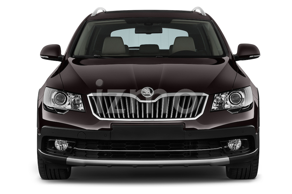 Car photography straight front view of a 2015 Skoda SUPERB Elegance 5 Door Wagon 2WD Front View