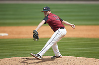 North Carolina Central Eagles relief pitcher Jake Eigner (33) \in action against the North Carolina A&T Aggies at Durham Athletic Park on April 10, 2021 in Durham, North Carolina. (Brian Westerholt/Four Seam Images)