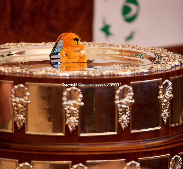 30-01-2014,Czech Republic, Ostrava, Cez Arena, Davis Cup, Czech Republic vs Netherlands, draw, The Dutch lion on the Davis Cup.<br /> Photo: Henk Koster