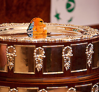 30-01-2014,Czech Republic, Ostrava, Cez Arena, Davis Cup, Czech Republic vs Netherlands, draw, The Dutch lion on the Davis Cup.<br /> Photo: Henk Koster