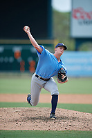 Tampa Bay Rays pitcher Austin Franklin (37) delivers a pitch during an Instructional League game against the Baltimore Orioles on October 2, 2017 at Ed Smith Stadium in Sarasota, Florida.  (Mike Janes/Four Seam Images)
