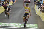 Yellow Jersey Tadej Pogacar (SLO) UAE Team Emirates wins Stage 18 of the 2021 Tour de France, ahead of Jonas Vingegaard (DEN) Jumbo-Visma and Richard Carapaz (ECU) Ineos Grenadiers, running 129.7km from Pau to Luz-Ardiden, France. 15th July 2021.  <br /> Picture: Colin Flockton   Cyclefile<br /> <br /> All photos usage must carry mandatory copyright credit (© Cyclefile   Colin Flockton)