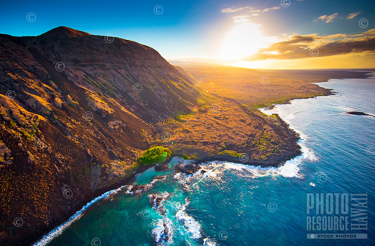 Halape and the Big Island's southeastern coast, seen during a helicopter tour.