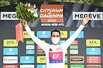 Daniel Martinez (COL) EF Pro Cycling wins the overall general classification and the young riders White Jersey after coming in 2nd place at the end of Stage 5 of Criterium du Dauphine 2020, running 153.5km from Megeve to Megeve, France. 16th August 2020.<br /> Picture: ASO/Alex Broadway | Cyclefile<br /> All photos usage must carry mandatory copyright credit (© Cyclefile | ASO/Alex Broadway)