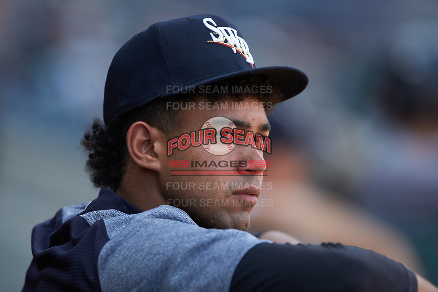 Scranton/Wilkes-Barre RailRiders pitcher Deivi Garcia watches from the dugout during the game against the Gwinnett Stripers at Coolray Field on August 18, 2019 in Lawrenceville, Georgia. The RailRiders defeated the Stripers 9-3. (Brian Westerholt/Four Seam Images)