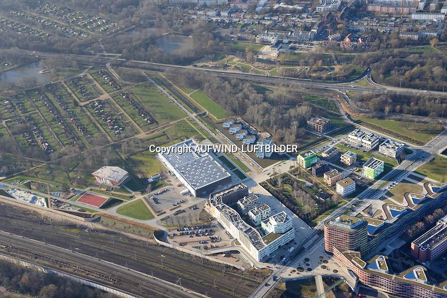 Olympische Wasserballhalle Wilhelmsburg: EUROPA, DEUTSCHLAND, HAMBURG, (EUROPE, GERMANY), 17.01.2015: Stadtquartier im Zentrum  Wilhelmsburg.