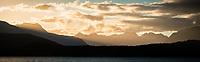 Sunset over Lake Manapouri and Fiordland, Fiordland National Park, Southland, UNESCO World Heritage Area, New Zealand, NZ