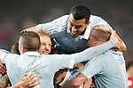 Celta de Vigo's Iago Aspas, Daniel Wass, Gustavo Cabral, Pablo Hernandez and John Guidetti celebrate with his partners during Spanish Kings Cup match. January 27,2016. (ALTERPHOTOS/Acero)