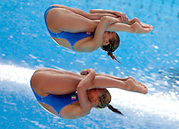 Italy's Tania Cagnotto, top, and Francesca Dallape' compete in the women 3-meter synchro springboard diving finals at the Swimming World Championships in Rome, 24 July 2009..UPDATE IMAGES PRESS/Riccardo De Luca
