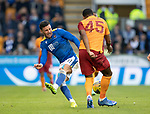 St Johnstone v Galatasaray…12.08.21  McDiarmid Park Europa League Qualifier<br />Michael O'Halloran tackles Marcao<br />Picture by Graeme Hart.<br />Copyright Perthshire Picture Agency<br />Tel: 01738 623350  Mobile: 07990 594431