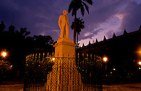 Havana capitol city of Cuba with lnight exposure of the statue of Carlos Manuel de Cespedes at twilight