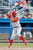 Williamsport Crosscutters first baseman Geancarlo Mendez #17 during the second game of a doubleheader against the Batavia Muckdogs at Dwyer Stadium on August 23, 2011 in Batavia, New York.  Batavia defeated Williamsport 2-1.  (Mike Janes/Four Seam Images)