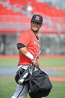 Rutgers University Scarlet Knights outfielder Mike Carter (4) after a game against the University of Cincinnati Bearcats at Bainton Field on April 19, 2014 in Piscataway, New Jersey. Rutgers defeated Cincinnati 4-1.  (Tomasso DeRosa/ Four Seam Images)