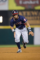 Leudys Baez (43) of the Rome Braves takes off for third base against the Hickory Crawdads at L.P. Frans Stadium on May 12, 2016 in Hickory, North Carolina.  The Braves defeated the Crawdads 3-0.  (Brian Westerholt/Four Seam Images)