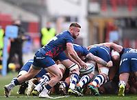 23rd April 2021; Ashton Gate Stadium, Bristol, England; Premiership Rugby Union, Bristol Bears versus Exeter Chiefs; Andy Uren of Bristol Bears passes from a scrum