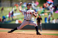 Mississippi Braves relief pitcher Danny Reynolds (39) delivers a pitch during a game against the Montgomery Biscuits on April 25, 2017 at Montgomery Riverwalk Stadium in Montgomery, Alabama.  Mississippi defeated Montgomery 3-2.  (Mike Janes/Four Seam Images)
