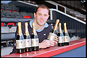 """4th December 98       Ref : 980409    .Copyright Pic : James Stewart   .""""DAN"""" MARINO KEITH SHOWS OF THE NEW CHAMPAGNE NAMED AFTER HIM."""".........PRESS RELEASE AS FOLLOWS.......Back the Bairns, the independent Falkirk supporters campaign, today announced the launch of of a festive champagne """"Dan"""" Perignon 98, named after the First Division's joint top scorer, """"Dan"""" Marino Keith. Bottles will be given to anyone making a donation of more than £15 to the campaign. Donations will be taken at all festive Falkirk home games from tomorrow. For further information, contact Paul Robertson, telephone 0131 225 8217. Marino Keith said, """"It's an honour to be celebrated in this manner. I look forward to thanking the fans for their recent best wishes with this champagne"""". .Payments to :-.James Stewart Photo Agency, Stewart House, Stewart Road, Falkirk. FK2 7AS      Vat Reg No. 607 6932 25.Office : 01324 630007        Mobile : 0421 416997.E-mail : JSpics@aol.com.If you require further information then contact Jim Stewart on any of the numbers above........."""