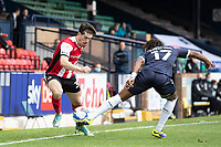 Josh Key of Exeter City dinks the ball beyond Kasaiah Sterling, Southend United during Southend United vs Exeter City, Sky Bet EFL League 2 Football at Roots Hall on 10th October 2020