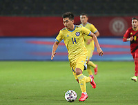Arman Kenessov (14) of Kazakhstan with the ball during a soccer game between the national teams Under21 Youth teams of Belgium and Kazakhstan on the third matday in group I for the qualification for the Under 21 EURO 2023 , on friday 8 th of october 2021  in Leuven , Belgium . PHOTO SPORTPIX | SEVIL OKTEM