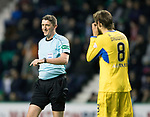 Hibs v St Johnstone…18.11.17…  Easter Road…  SPFL<br />Referee Craig Thomson has a laugh with Murray Davidson<br />Picture by Graeme Hart. <br />Copyright Perthshire Picture Agency<br />Tel: 01738 623350  Mobile: 07990 594431