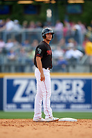 Nashville Sounds first baseman Matt Olson (21) leads off second base during a game against the New Orleans Baby Cakes on May 1, 2017 at First Tennessee Park in Nashville, Tennessee.  Nashville defeated New Orleans 6-4.  (Mike Janes/Four Seam Images)