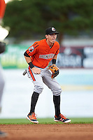 Aberdeen IronBirds shortstop Chris Clare (5) during a game against the Batavia Muckdogs on July 15, 2016 at Dwyer Stadium in Batavia, New York.  Aberdeen defeated Batavia 4-2.  (Mike Janes/Four Seam Images)