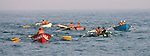 The 3,000-meter surfboat event at the First Annual Asbury Park Beach Bar Lifeguard Competition held at the 3rd Avenue beach in Asbury Park.  ASBURY PARK, NJ  8/4/07  8:21:47 PM  PHOTO BY ANDREW MILLS