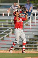 First baseman Osvaldo Morales (37) of the Johnson City Cardinals settles under a pop up in the infield at Dan Daniels Park in Danville, VA, Sunday July 27, 2008.