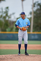 Tampa Bay Rays relief pitcher Luis Moncada (79) gets ready to deliver a pitch during an Instructional League game against the Pittsburgh Pirates on October 3, 2017 at Pirate City in Bradenton, Florida.  (Mike Janes/Four Seam Images)