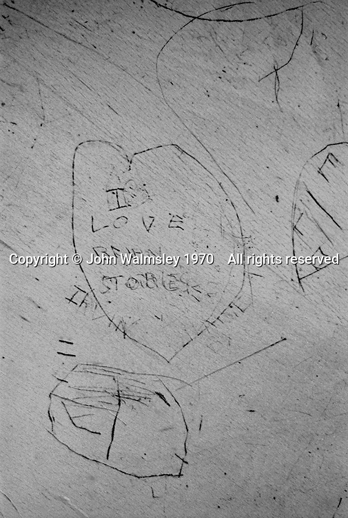 Desktop carvings, Whitworth Comprehensive School, Whitworth, Lancashire.  1970.