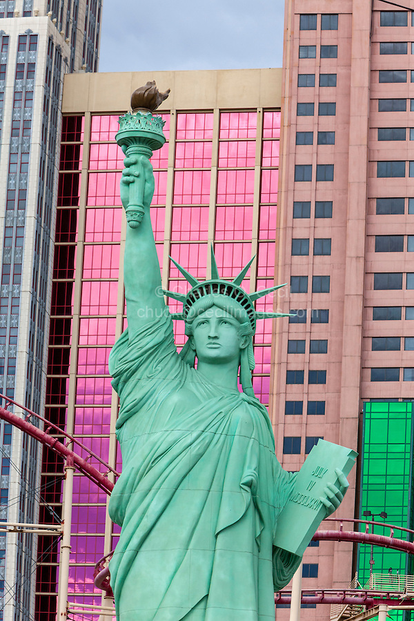 Las Vegas, Nevada.  Statue of Liberty Replica in front of New York New York Hotel and Casino.
