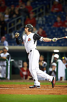 Louisville Cardinals third baseman Drew Ellis (10) hits a home run during a game against the Maryland Terrapins on February 18, 2017 at Spectrum Field in Clearwater, Florida.  Louisville defeated Maryland 10-7.  (Mike Janes/Four Seam Images)