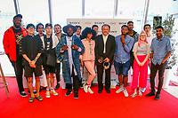 ADIAN COKER, BE CHARLOTTE, GEOFFROY, IRIS GOLD, KIDDY SMILE, M.ANIFEST, PRATEEK KUHAD, SHAKKA, RENDEZ-VOUS et XXX en photocall avec Noritake SAWAMURA, Senior General Manager / Planning and Marketing Division chez SONY, lors du MIDEM 2017 à Cannes, Palais des Festivals et des Congres, Cannes, Sud de la France, mardi 6 juin 2017. # MIDEM ARTIST ACCELARATOR FINALISTS SONY A CANNES