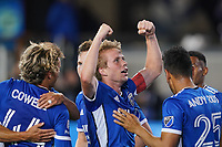 SAN JOSE, CA - MAY 1: Jackson Yueill #14 of the San Jose Earthquakes celebrates scoring with teammates during a game between D.C. United and San Jose Earthquakes at PayPal Park on May 1, 2021 in San Jose, California.
