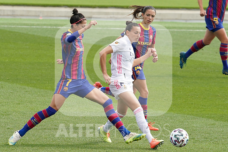 First official match and first classic in the history of women's Real Madrid.<br /> Real Madrid's Aurelie Kaci (c) and FC Barcelona's Jennifer Hermoso (l) and Aitana Bonmati during Spanish Female League match. October 4,2020. (ALTERPHOTOS/Acero)